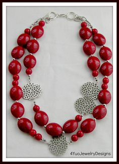 Red Bead Necklace Handmade Red Necklace with by 4YouJewelryDesigns, $28.00