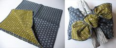 Reversible furoshiki provide for nice contrasts and interesting knots