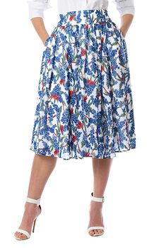 Floral print georgette full skirt-CL0055955