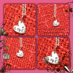 Hand stamped puffy heart sterling silver
