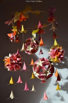 origami lily paper mobile