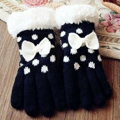 Pair of Cute Bowknot Dot Pattern Fluff Knitting Gloves For Women Black Gloves, Knitted Gloves, Dots, Pairs, Knitting, Winter, Pattern, Women, Fashion