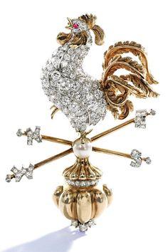 Verdura 18-karat gold platinum diamond and cultured pearl brooch.