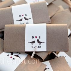 Mini clothespins sealed these folded kraft paper programs.