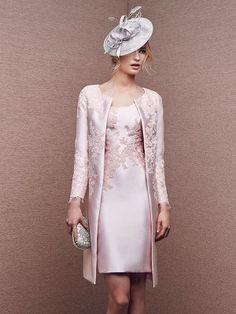 Sheath/Column Scoop Knee-Length Sleeveless Applique Satin Mother Of The Bride Dresses