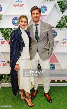 Olivia Palermo and Johannes Huebl attend the evian Live Young suite during Wimbledon 2017 on July 15 2017 in London England