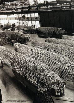 Wellington's fuselages at Brooklands at the beginning of the assembly process - Note geodesic construction