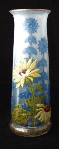 "Moser, Enameled ""Sunflower"" Vase with graduated opal ground, Czechoslovakia, ca. 1895."