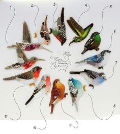 10 новых птиц! (4 фото) Броши, ручная вышивка хлопком, бисером, застежки с серебрением Hand-embroidered brooches, cotton thread, glass beads, clasps with silvering #embroidery #handembroidery #birds #lerapetunina #brooch #handwork #вышивка #broderie #bordado #ricamo #ручнаявышивка #ручнаяработа #птицы #вышивкагладью
