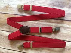 Red Adjustable Suspenders -  Baby thru Youth adjustable wedding ring bearer usher birthday party photo prop dress up baby boy infant child toddler kid