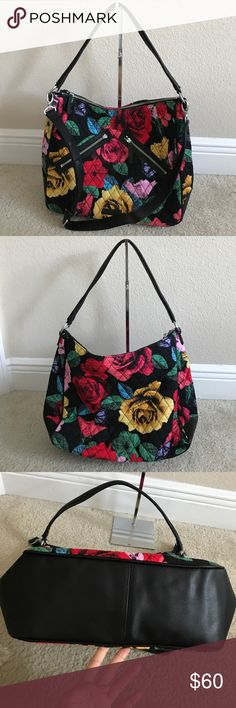 "Vera Bradley Signature Print Vivian Hobo & Wallet Like new. In great condition. Color Havana rose. eight credit card slots, two bill slots, ID slot, center change slot with zip closure, RFID technology Approximate measurements: Hobo bag 16""W x 10-1/2""H x 5""D with a 10"" handle and a 19"" to 23"" strap drop; weighs approximately 1 lb, 6 oz; Wallet 7-3/4""W x 4-1/4""H x 3/4""D Hobo bag: face/fill 100% cotton; lining/trim 100% polyurethane Wallet: face 100% cotton; fill 100% polyurethane; lining 56%…"