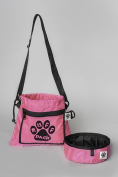 Pink Ruff Pack Bag with Foldable Water Bowl