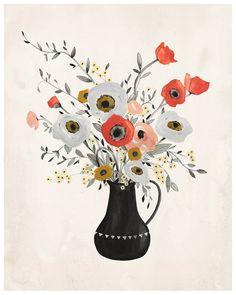 Poppy Print  8X10 by KelliMurrayArt on Etsy