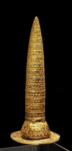 Berlin Gold Hat. 1,000-800 BC.  I saw a documentary about this piece a few days ago where they speculated that this is where the modern idea of a wizard's hat comes from.  Believed to have been worn by celtic druids during ceremonies.