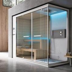 Sauna e Hammam Steam Room Shower, Sauna Steam Room, Sauna Room, Saunas, Home Spa Room, Spa Rooms, Design Sauna, Sauna Hammam, Sauna Shower