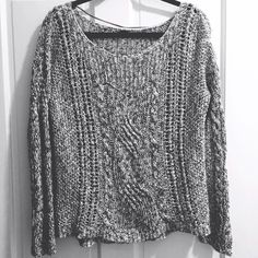 Free People sweater Gray and white knit Free People sweater. Size tag is off but fits like a XS/S. In good condition-worn twice. Free People Sweaters