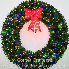 6 Foot inch) Multi Color L. Christmas Wreath with Pre-lit Red Bow Pre Lit Christmas Wreaths, All Things Christmas, Christmas Ideas, Light Colors, Bows, Led, Lights, Holiday Decor, Crafts