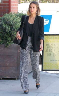 Monochrome Moment from Jessica Alba's Street Style  This look may be black and white, but still it's a vivid combination.