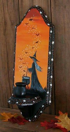 30 Amazing Candle Holder Ideas for a Scary Halloween original-halloween-painting-witch-bats-folk-art-wooden-candle-holder Diy Halloween Costumes For Kids, Scary Halloween Decorations, Outdoor Halloween, Diy Halloween Decorations, Costumes Kids, Halloween Makeup, Halloween Halloween, Group Halloween, Costume Ideas
