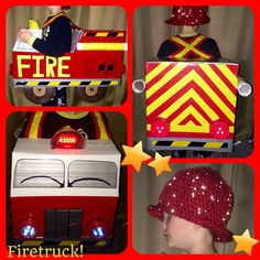 Homemade Firetruck Halloween Costume with Crocheted Helmet