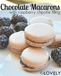 Chocolate Macarons with Raspberry Chipotle Filling - Hi Lovely!