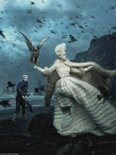 Action shot: The Moncler campaign was apparently inspired by 'Nordic sagas and traditional Russian and Slavic folklore' - here Lucky encounters the Snow Queen on his travels