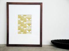 SALE Abstract Geometric Tribal Triangles Linocut Art Print / 5 x 7 Home Decor / Gold, Silver, Pewter