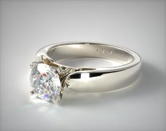 Simple. Round stone. Cathedral. Flat edges. Yes!! 14k White Gold 3.8mm Rounded Cathedral Solitaire Engagement Ring