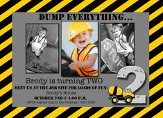 Boy Construction Theme Photo Card Invitation Custom - Print Your . Construction Birthday Parties, Construction Party, 4th Birthday Parties, Boy Birthday, Birthday Ideas, Digger Birthday, Construction Invitations, Motto, Digger Party