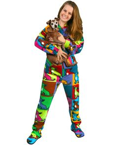 4808f590c6 Pajama City offer the best PajamaCity Warhol Chihuahuas Print Polar Fleece  Butt-Flap Footed Pajamas for Teens and Adults Size 5 to