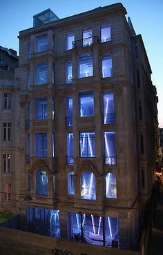 Leo Villareal installs a lattice of LED tubes in a 1975 building in Istanbul's historic Beyoglu district.