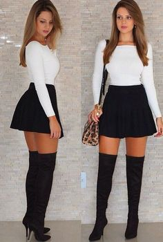 Chic Fall Outfit Ideas You Need This Fall « ellee. Cute Skirt Outfits, Cute Skirts, Girly Outfits, Cute Casual Outfits, Sexy Outfits, Stylish Outfits, Mini Skirts, Skater Skirt Outfit, Grunge Outfits