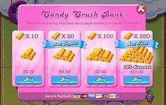 candy crush saga store in app purchases menu - Google Search