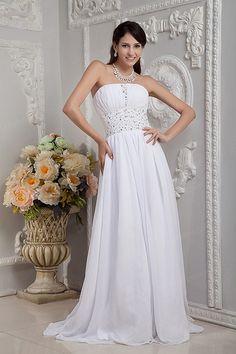 Sheath/Column Strapless Satin Chiffon Sweep/Brush Train Crystal Wedding Dress
