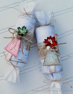 Recycle toilet paper tubes to create a fun favor for the Christmas table.  (Uses JustRite stamps, Petaloo flowers, and hand painted jingle bells)