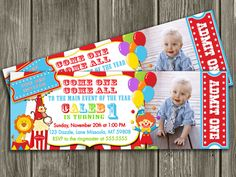 Circus Ticket Invitation - FREE thank you card included. $15.00, via Etsy.