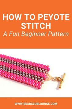 Learn how to peyote stitch with this easy beading pattern for beginners. This simple bracelet tutorial has step-by-step photos with instructions written in English. Peyote Beading Patterns, Peyote Stitch Patterns, Bead Embroidery Patterns, Beaded Bracelet Patterns, Loom Beading, Weaving Patterns, Free Seed Bead Patterns, Bracelet Designs, Groomsmen