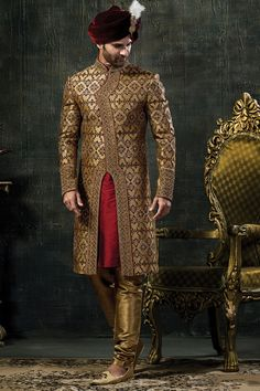 Mens Golden And Red Colour Wedding Groom Sherwani Indian Wedding Poses, Wedding Dresses Men Indian, Indian Wedding Couple Photography, Indian Wedding Wear, Indian Bridal Outfits, Couple Wedding Dress, Wedding Outfits For Groom, Groom Wedding Dress, Sherwani For Men Wedding