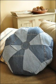 Dresden Pouf & Pillow - IJ943 created from recycled denim