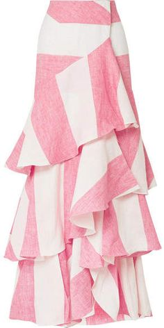 Johanna Ortiz Tabasco Ruffled Striped Linen Wrap Maxi Skirt Pink - Maxi Skirts - Ideas of Maxi Skirts Maxi Skirt Winter, Diy Maxi Skirt, Midi Skirt Casual, Maxi Skirt Outfits, Boho Outfits, Dress Skirt, Long Maxi Skirts, Linen Skirt, Handmade Skirts