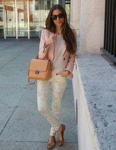 Pink blazer, floral pants and tan ballet flats...girly!