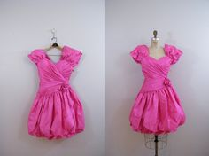 Vintage 1980s Hot Pink Prom Dress / Poufy Sleeves / Size 3 / Tags Still Attached