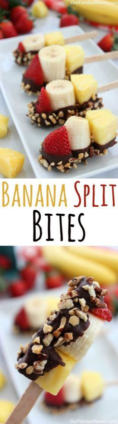 Everything on a stick is better and these banana split bites.- Everything on a stick is better and these banana split bites are no exception! Everything on a stick is better and these banana split bites are no exception! Healthy Treats, Healthy Desserts, Delicious Desserts, Yummy Food, Easy Desserts, Mini Desserts, Paleo Dessert, Healthy Birthday Desserts, Heathy Dessert Recipes