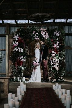 a lush and moody wedding arch with greenery, burgundy and pink blooms and ferns for a Halloween wedding Wedding Ceremony Ideas, Wedding Sets, Floral Wedding, Wedding Flowers, Dream Wedding, Wedding Day, Wedding Arches, Winter Wedding Arch, Wedding Favours