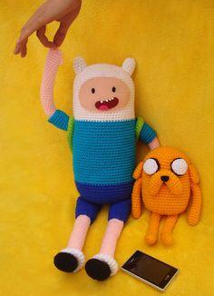 Finn & Jake  Adventure Time  Amigurumi dolls by moondancermarina, $80.00