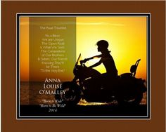 """Personalized """"The Female Biker"""" - 13"""" x 16"""" Framed HD Print With Digital Mat"""