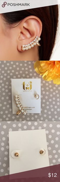 Pearl and Crystal Ear Cuff One Pearl stud and one Pearl ear cuff. Perfect to wear anytime of day! T&J Designs Jewelry Earrings