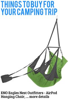 (This is an affiliate pin) ENO Eagles Nest Outfitters - AirPod Hanging Chair, Hanging Lounge Chair Camping Furniture, Hanging Chair, Things To Buy, Eagles, Nest, Lounge, Backyard, Garden, Nest Box