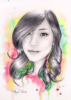 Portrait in mixed technique by Vittoria Volovik