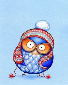 Owl in Knitted Winter Hat - NEW Painting by Annya Kai - Owl Decor Snow White Christmas